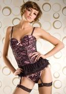 Victorian Lace 2pc Bustier-hot Pnk-xl